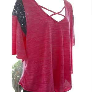 Pink Criss Cross Front Blouse